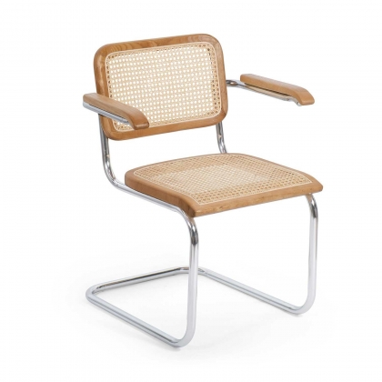 CHAISE WEBSTER AVEC ACCOUDOIRS EN ROTIN NATUREL