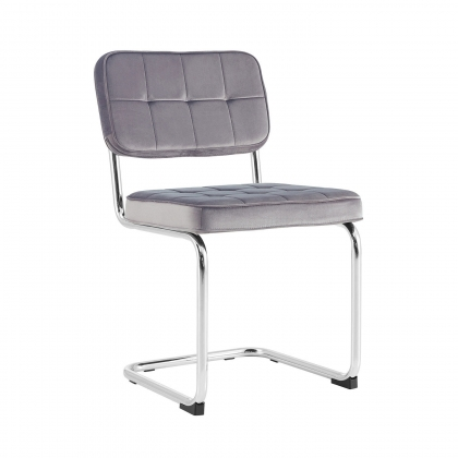 CHAISE CATALINA CAPITONE VELOURS GRIS